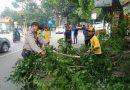 Antisipasi bencana ,Aiptu Priyo  Bhabinkamtibmas Polsek Utbar Polres Cirebon Kota Polda jabar Tebang Pohon Rapuh di Jalan Raya